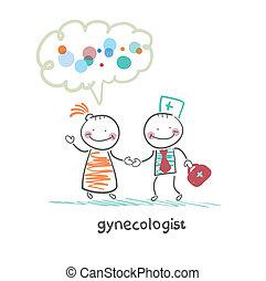 ginecologista, para, cura, a, paciente