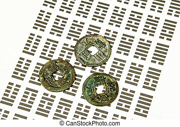 ging, coins, adivinación, chino