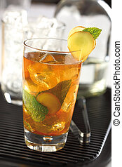 Ginger ale cocktail, prepared with rum and mint leaves.