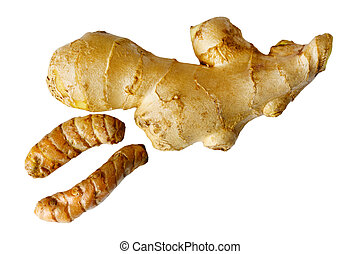 Ginger and turmeric isolated on white background