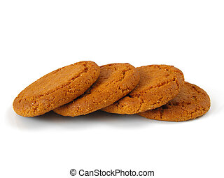 Ginger Biscuits - A row of ginger biscuits on a white...