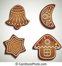 Ginger bread bell half moon and house with decorations