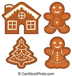 Ginger bread cookie icon logo colorful bright set. Christmas...