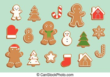 ginger bread cookie in various shape, Christmas tree,...