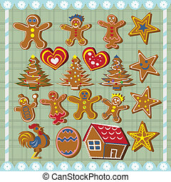 Ginger bread cookies - Collection of different ginger bread ...