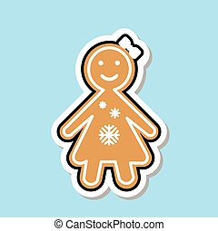Ginger Bread Girl Icon Cute Christmas Cookie Sticker Isolated