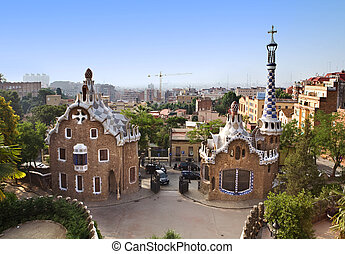 houses designed by Gaudi in Park Guell, Barcelona