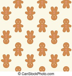 Ginger bread man background for Christmas, seamless pattern