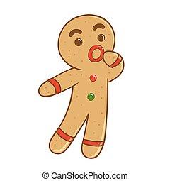 Ginger bread man feeling confused vector illustration