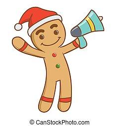 Ginger bread man holding a loud speaker, vector illustration