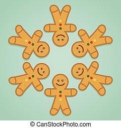 Ginger bread man holding hands in circle, vector illustration
