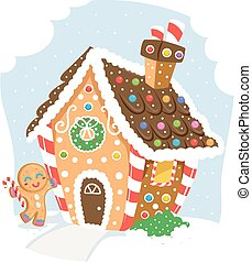 Illustration of a Gingerbread Man Cookie Standing Beside a Gingerbread House