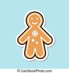 Ginger Bread Man Icon Cute Christmas Cookie Sticker Isolated Flat Vector Illustration