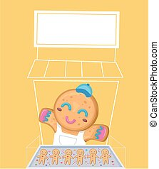 Illustration of a Gingerbread Man Cookie Selling Cookies In His Stall in Christmas Market