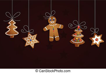 Ginger bread man tree and stars with decorations Cristmas...