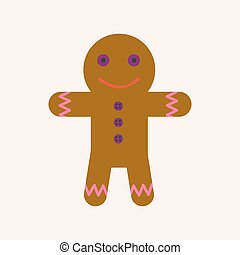 Ginger bread man with face and raisin buttoms - Ginger bread...