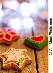 ginger bread on wood christmas holi