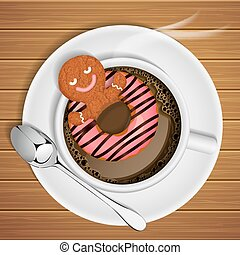 ginger bread with doughnut in cup of hot chocolate - ginger...