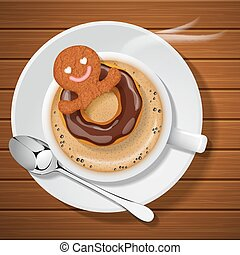 ginger bread man floating with chocolate doughnut in cup of hot cappuccino with steam on wood background