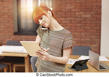 Ginger busy woman working hard