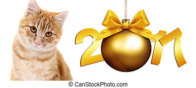 ginger cat and golden christmas ball with gold satin ribbon bow and 2017 text