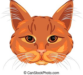 Ginger cat head isolated on white. Vector illustration