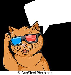 Ginger cat in 3d glasses vector illustration - Cartoon...