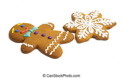 ginger christmas cookie isolated