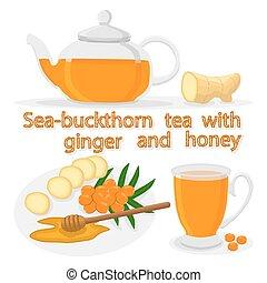 ginger - Vector illustration of logo for ceramic teapot,...