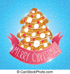 Ginger cookie christmas tree. Holiday vector card