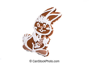ginger cookie hare isolated