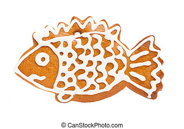 Ginger Cookie Isolated on White Background. Gingerbread Christmas Food, Fish Figure
