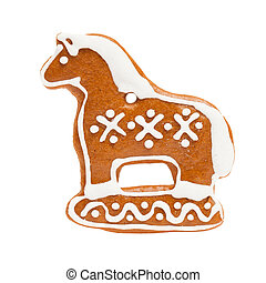 Ginger Cookie Isolated on White Background. Gingerbread Christmas Food, Horse Figure