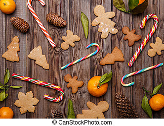Ginger cookies on empty background