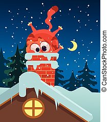 Ginger fat cat character mascot trying to get into roof pipe. Vector flat cartoon illustration