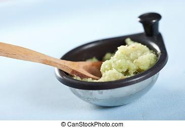 Ginger garlic paste in small bowl - Freshly homemade ginger...