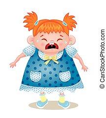 Ginger Girl Crying, Vector Illustration On White Bbackground