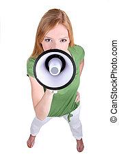 Ginger haired girl speaking into megaphone