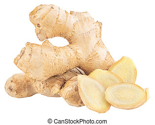 Ginger Isolated on white background Clipping Path