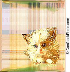 ginger kitten over checked background