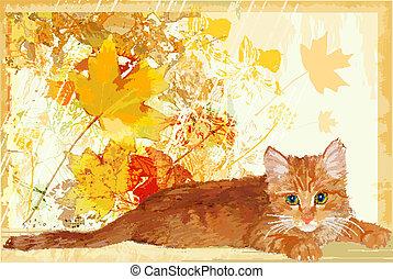 ginger kitten waits for its owner