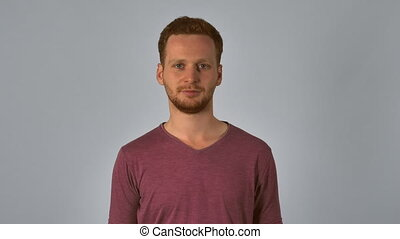 ginger male knock - smiling caucasian guy with red hair...