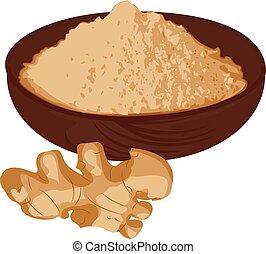 Ginger root and ginger powder vector illustration