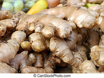 Ginger root in the market