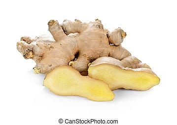 ginger root on white background