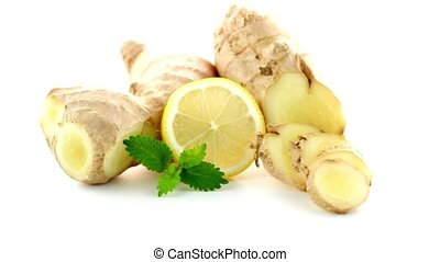 Ginger root on white
