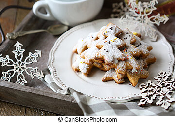 ginger shortbread biscuits on a plate, Christmas parties, ...