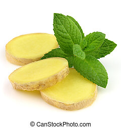Ginger slice with mint