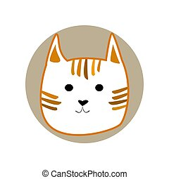 Ginger striped cute cartoon style cat in shape of grey circle vector illustration