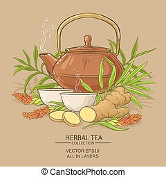ginger tea illustration - ginger tea vector illustration on...